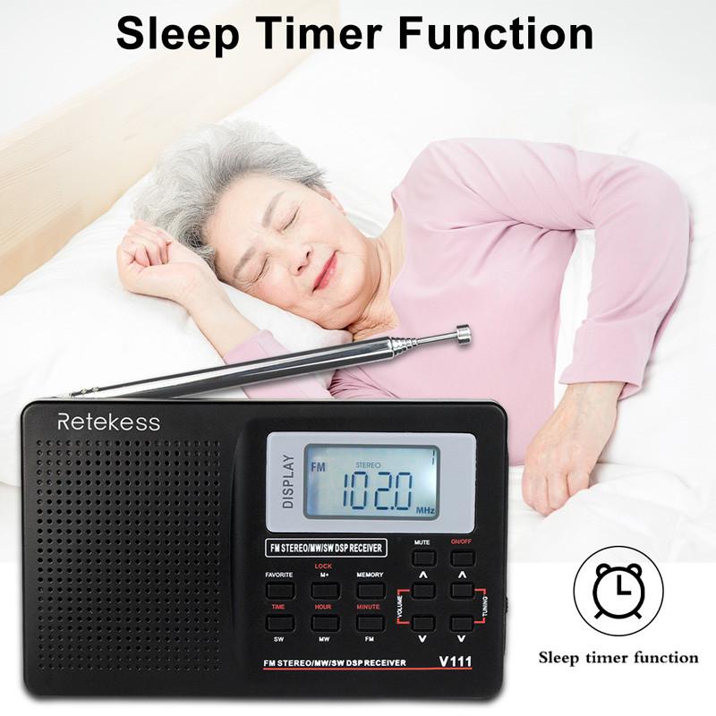 wholesale Retekess V111 portable radio FM MW SW clock alarm