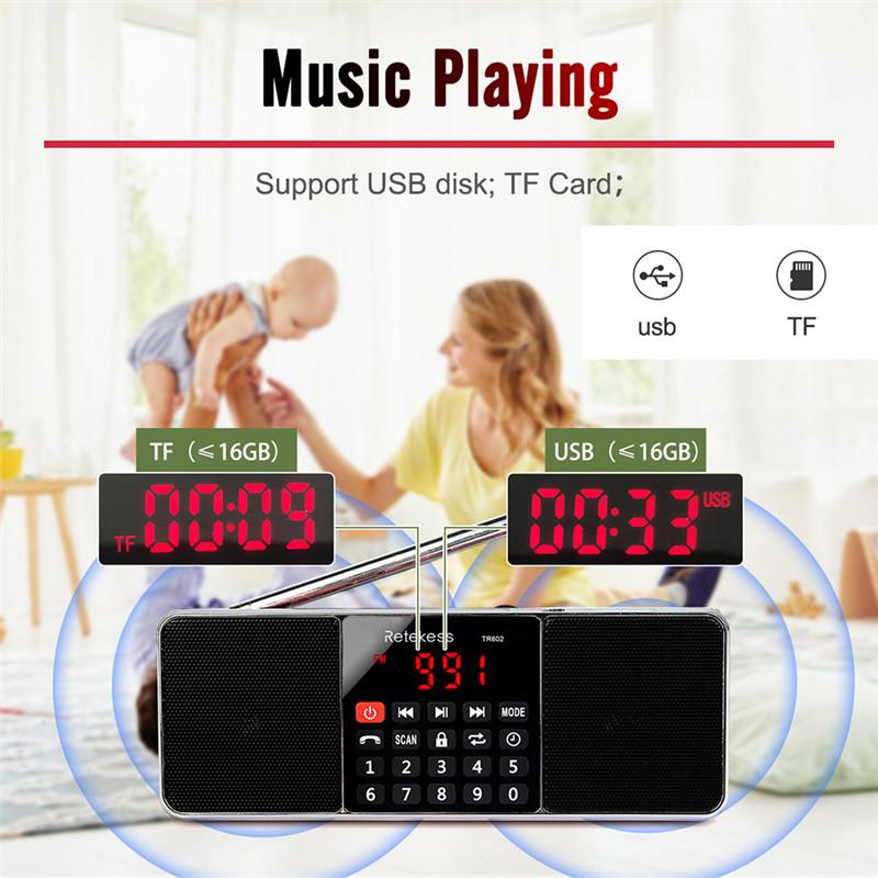 retekess TR602 portable radio AM FM bluetooth speaker