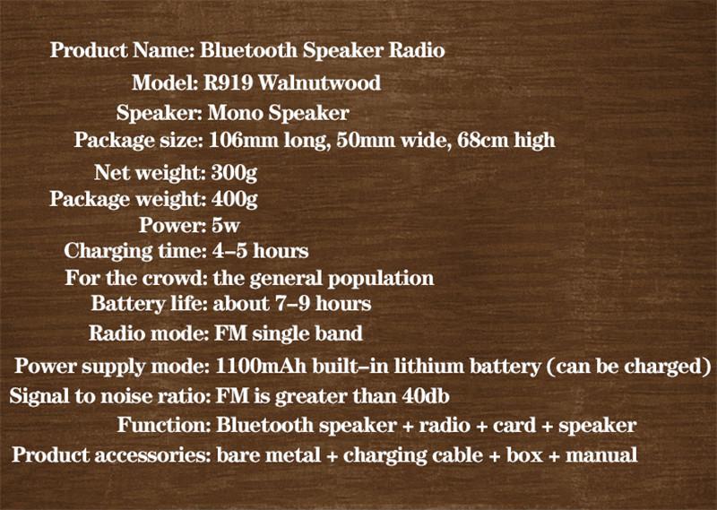 R919 retro wood portable radio mp3 bluetooth speaker