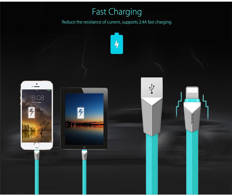HOCO X4 1.2M Zinc Alloy 8 Pin Data Fast Charging Cord