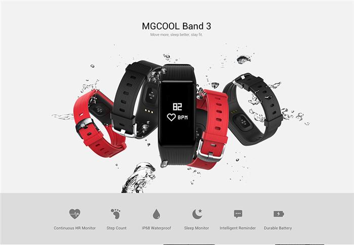 MGCOOL Band 3 Smartband IP68 Waterproof Heart Rate Monitor Sedentary Reminder Calorie Counting Sleep Monitor