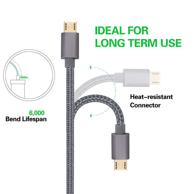 kiirie Durable Micro USB Nylon Braided  Charging Cables Android