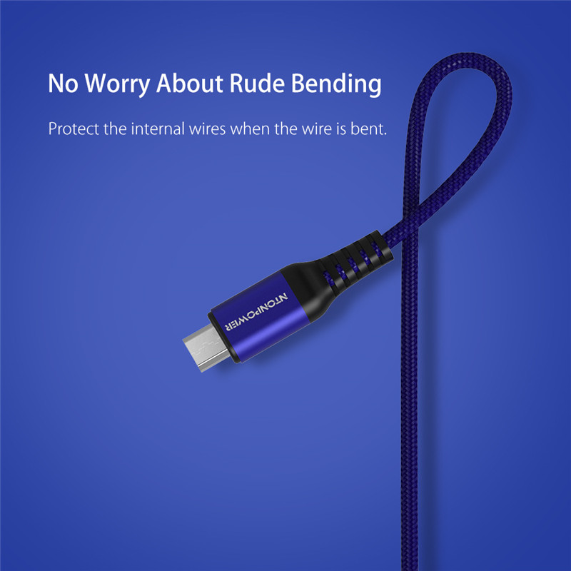 NTONPOWER 1M Micro USB Cable Fiber Braided Data Sync Charging Cable