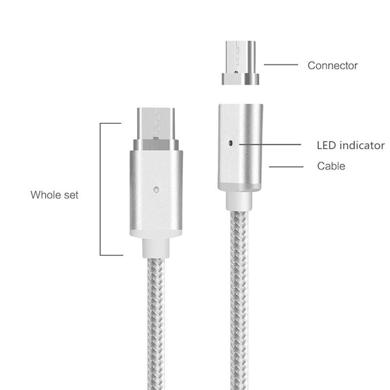 Metal Magnetic Type-C Metal Plug Adapter USB Data Cable