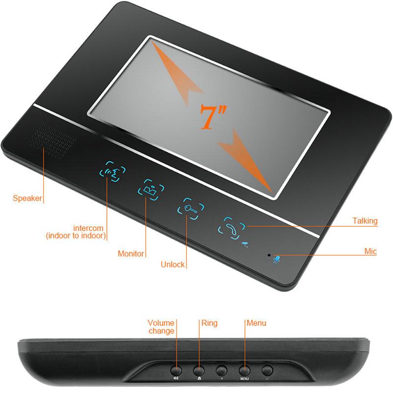 SY811MKB12 7 inch TFT screen hands free intercom doorbell