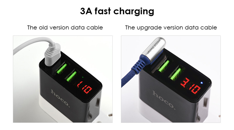 HOCO 3 in 1 8 Pin Micro USB  Type-C Charging Data Cable 1.5M