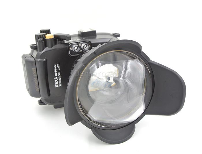 Sony NEX-6 waterproof case(16-50) connect fisheye dome port