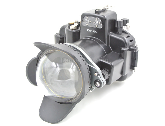Fisheye dome port + M67 Adaptor connect Nikon D7100 Housing waterproof case