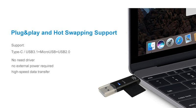 Cwxuan Type-C / Micro USB to OTG Hub Adapter TF Card Reader