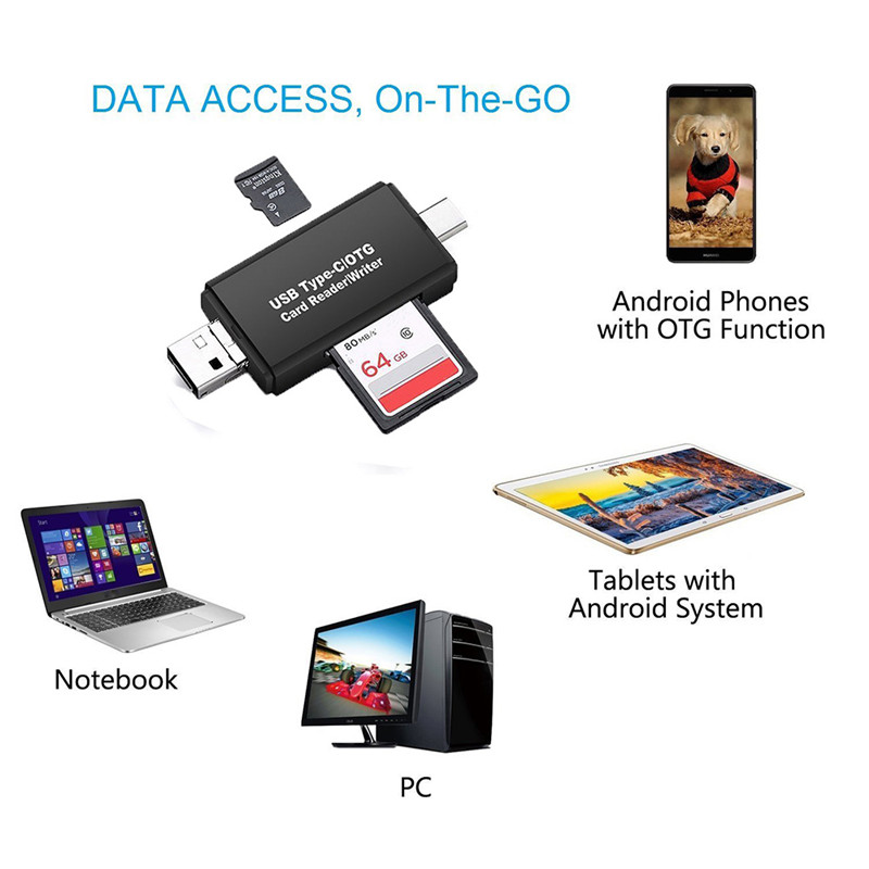 3 in 1 OTG Type C USB Micro USB Combo SD Card Reade