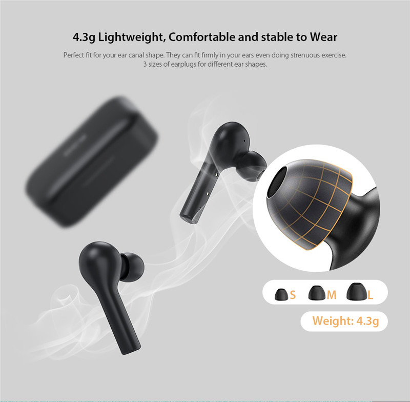 QCY T5 Bluetooth 5.0 Binaural In-ear Earphones Wireless Charging Earbuds