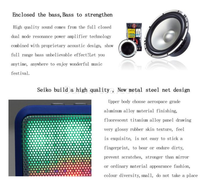 JHW-V338 LED Light Bluetooth Speaker Sound Box