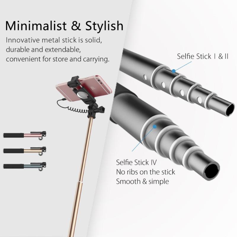 Rock Aluminium Alloy Selfie Stick Handheld Monopod