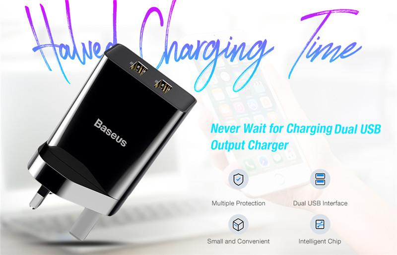 Baseus mini portable dual USB ports charger UK plug