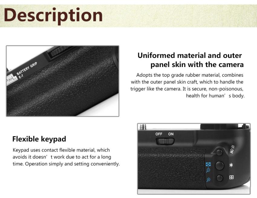 Pixel Vertical E7 Battery Grip Holder Pack For Canon EOS 7D