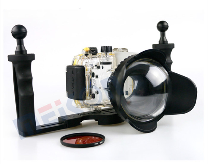 Canon G15 waterproof case aluminum tray set double handles