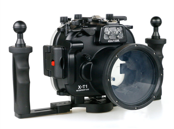 Fujifilm X-T1 waterproof case aluminum tray set double handles