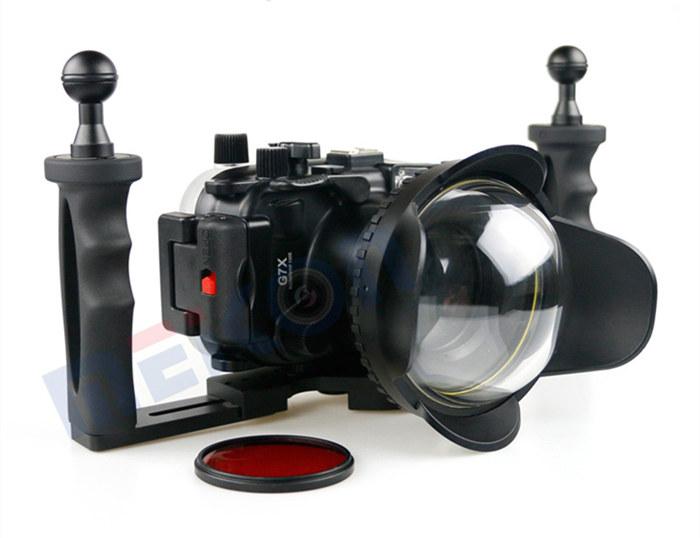 Canon G7X waterproof case aluminum tray set double handles