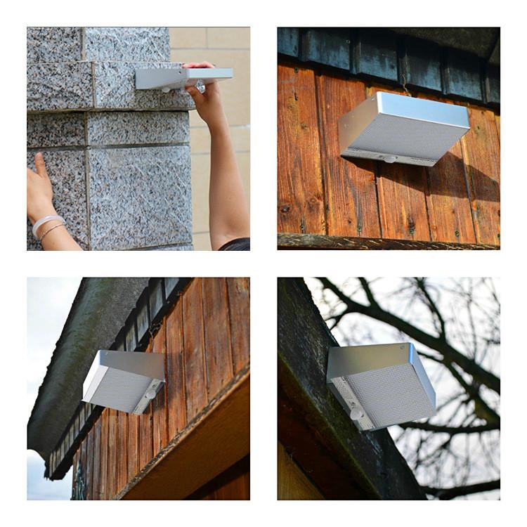 Solar Powered 48 LED 4W PIR Motion Sensor Waterproof Wall Light Outdoor Garden Lamp