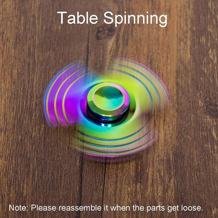 Flowing Light Aluminum Fidget Spinners Fingertip Gyro Toys