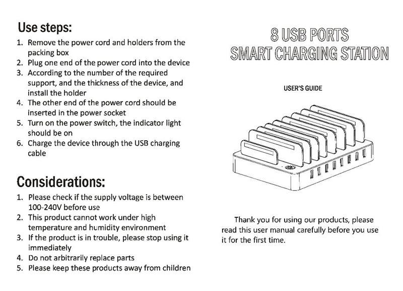 50W 8 Ports Desktop USB Multi-Function Charging Station Dock
