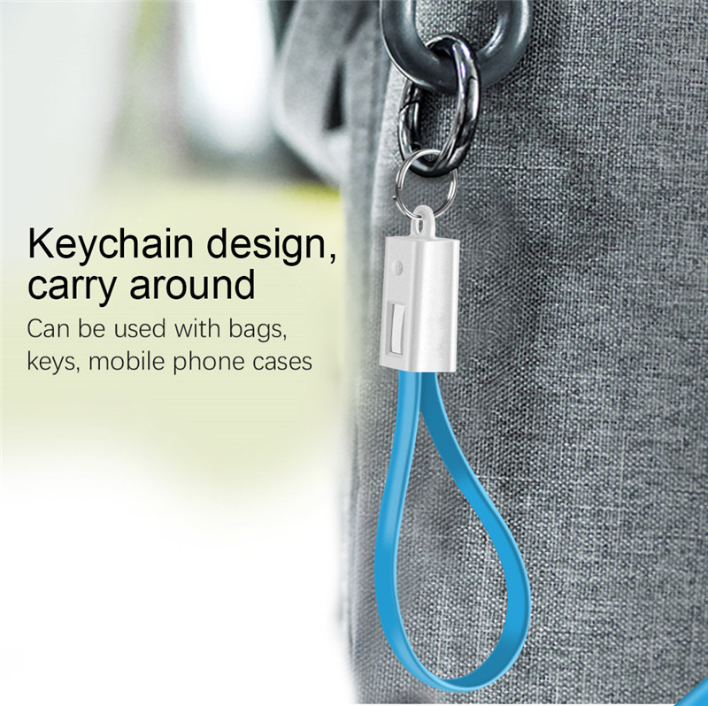 Portable Keychain Flat Wire Micro USB Type C Charger Cable Charging Data Cord