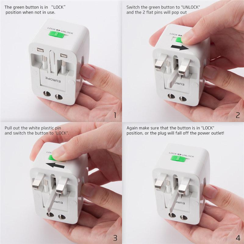 Universal Worldwide Travel Wall Charger Adapter AC Power Plug AU UK US EU Plug