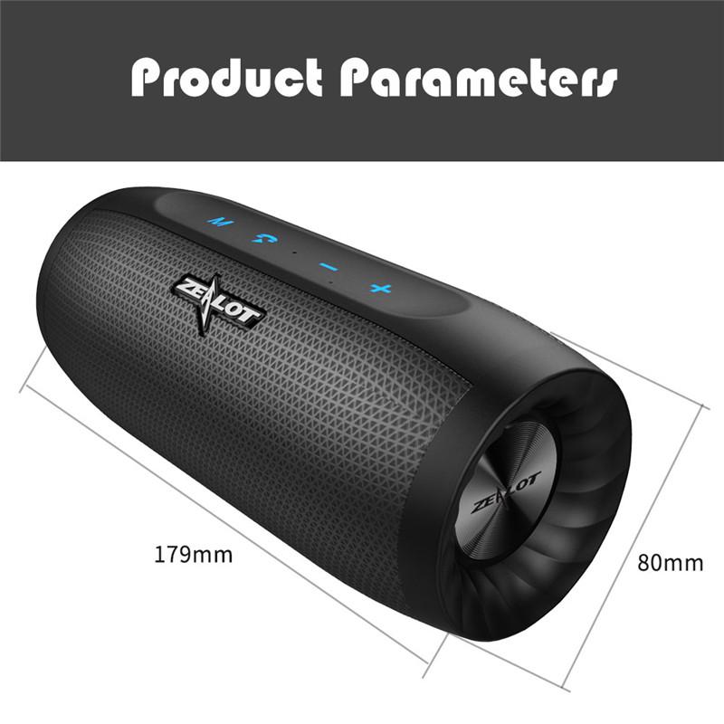 ZEALOT S16 Bluetooth Portable Speakers Outdoor Soundbar Subwoofer